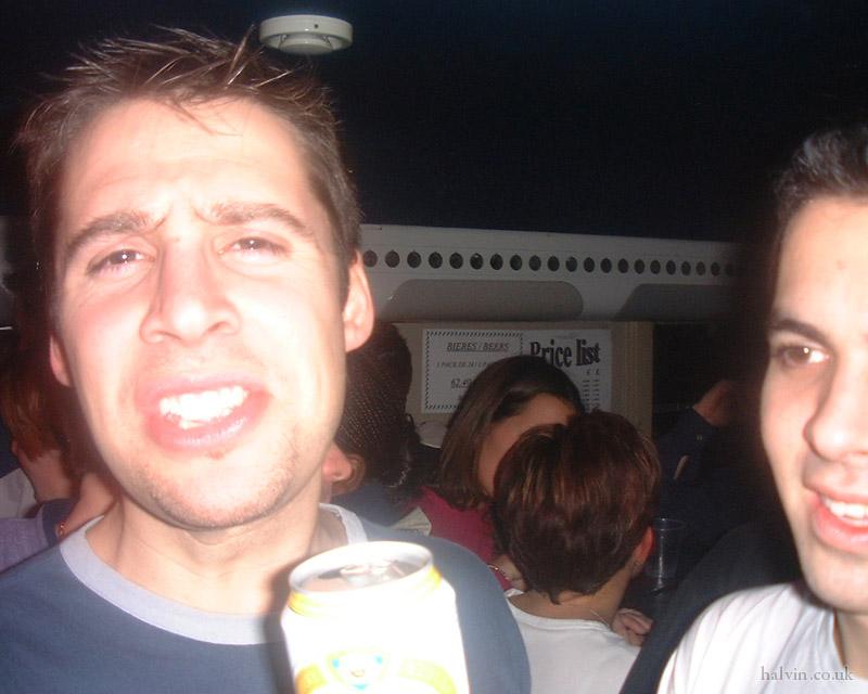 Mottaret 2002 - In the disco car.
