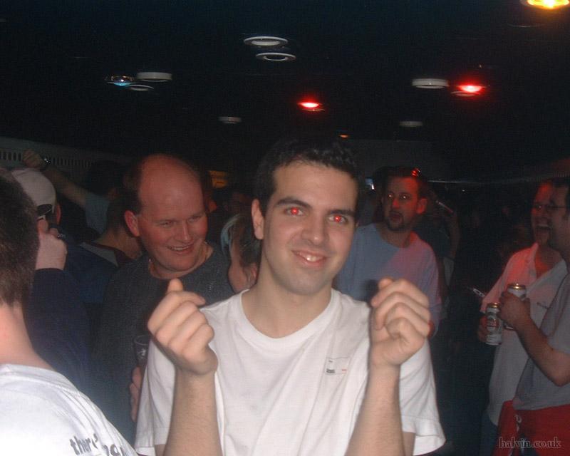 Mottaret 2002 - Rob H in the disco car.