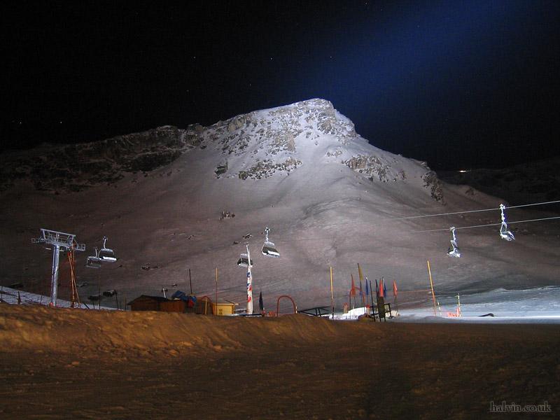 Tignes 2003 - Petite-Balme at night.
