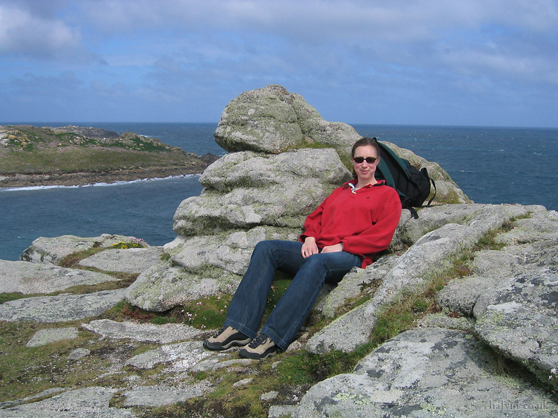 The Isles of Scilly - Kate on Bryher, just above the Hell Bay hotel.