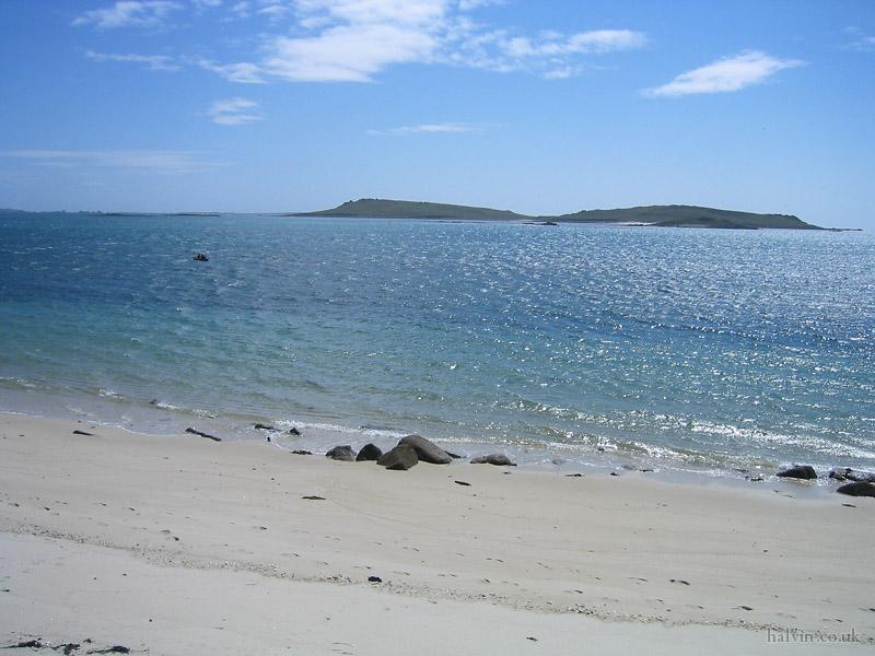 The Isles of Scilly - Appletree Bay on Tresco, looking towards Samson.