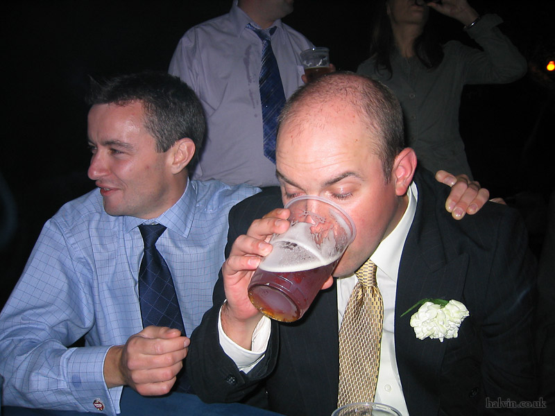 Mark and Hannah's Wedding - SP forcing down another pint.