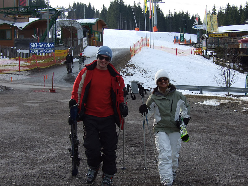 Schladming, Austria - Lee and Reena after their first full day's skiing.