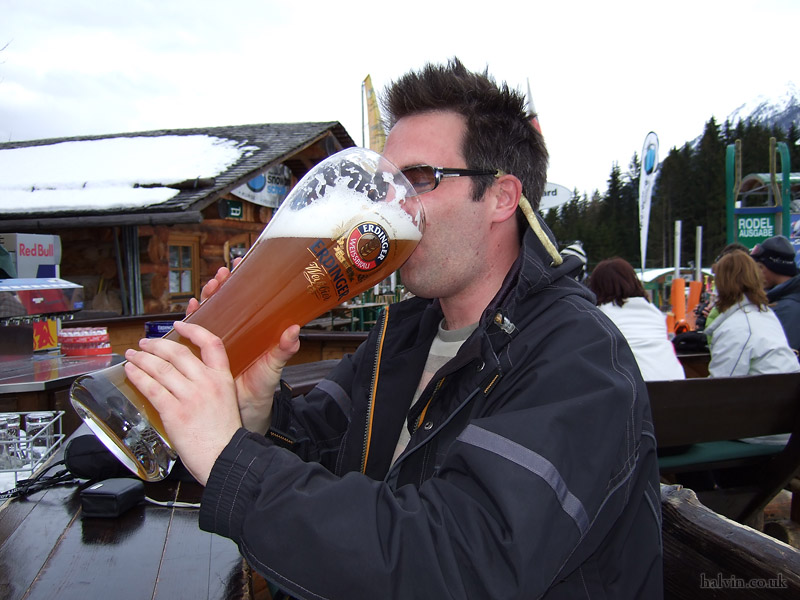 Schladming, Austria - Finish off with a nice three-litre Erdinger.