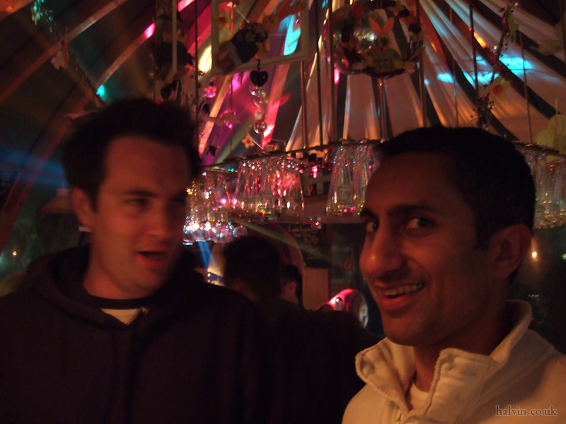 Schladming, Austria - Bill and Mukki in a weird igloo bar in town.  Very smokey, like everywhere in Austria.