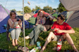 Thumbnail: Glastonbury 2009 - Libby, Sally and Tom at our camp.