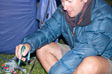 Photo: Glastonbury 2009 - Jimbo cooking some veggie sausages at 1am