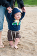 Images: West Pentire - Charlie heading for his first paddle in the sea