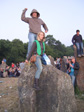 Pics: Glastonbury 2010 - Niel and Sam on another stone.