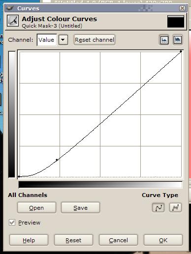 GIMP colour curve